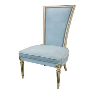Vintage Italian Hollywood Regency Pale Blue Velvet Antique Gold Accent Boudoir Slipper Chair For Sale