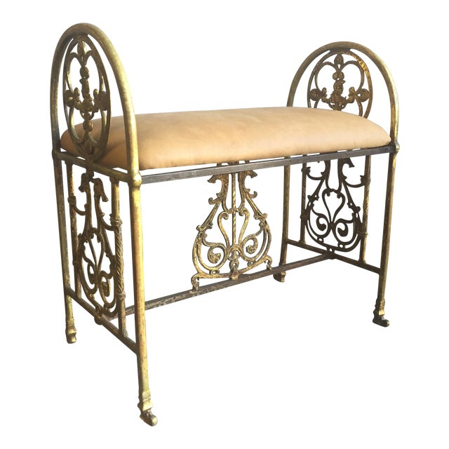 Oscar Bach Bronze and Iron Bench For Sale