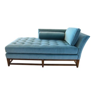 Blue Tufted Chaise For Sale