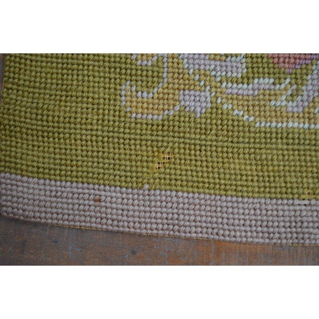 Lathe 19th Century Wool Needlepoint Panel With Lady and Cheetah For Sale - Image 12 of 13