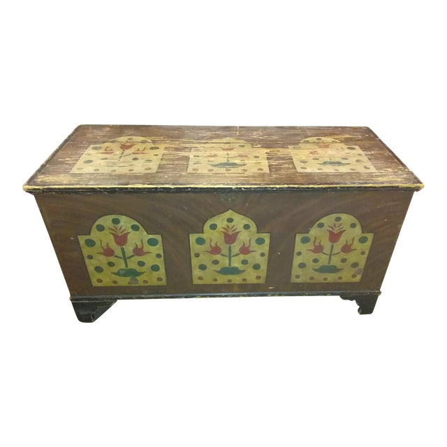 Antique Folk Art Hand Painted Wedding Chest For Sale