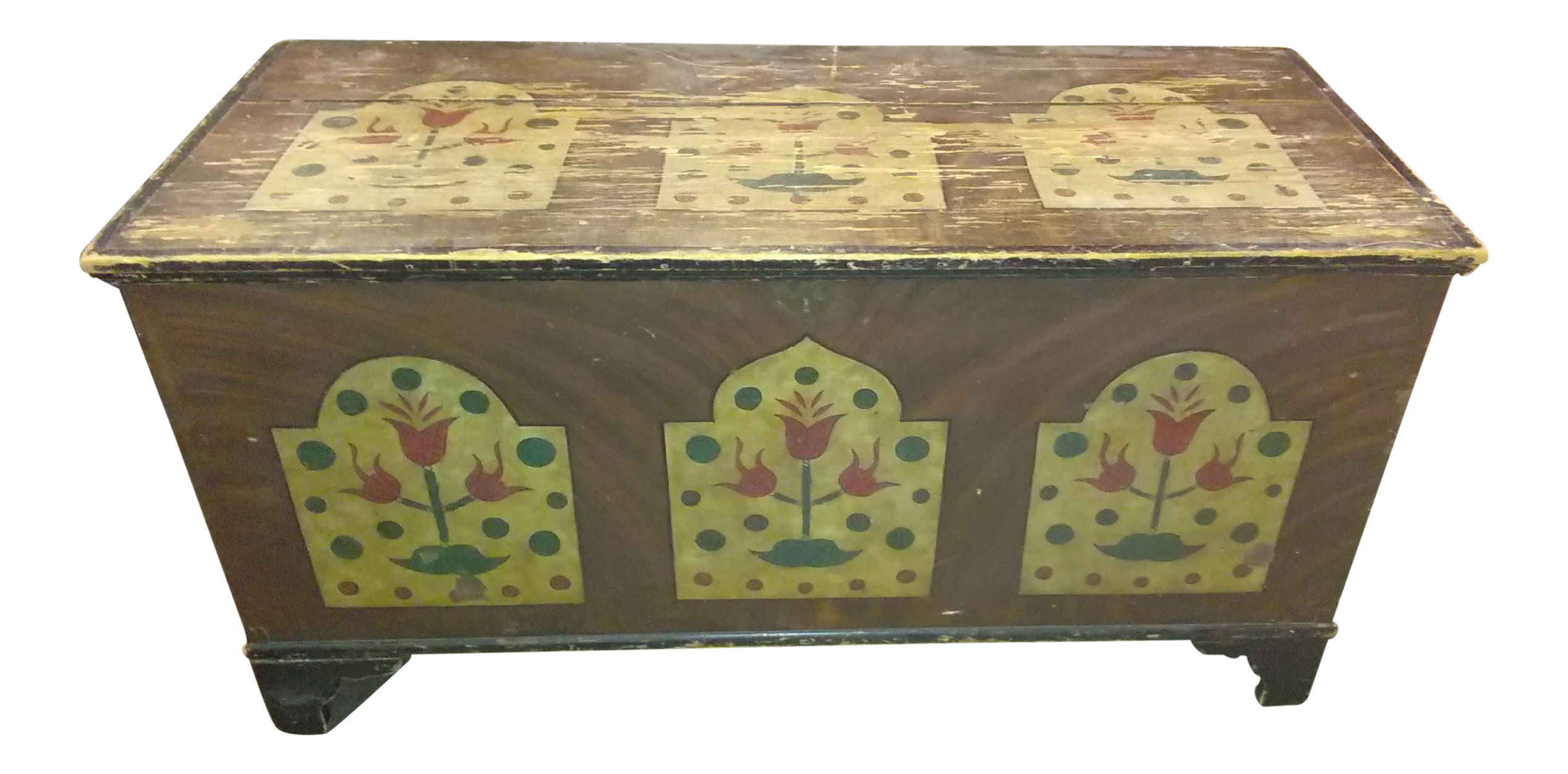 Antique Folk Art Hand Painted Wedding Chest