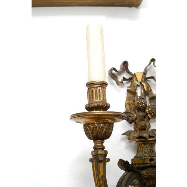 Neoclassic Style Hand-Cast Bronze Three-Light Sconces, America - a Pair For Sale - Image 4 of 9