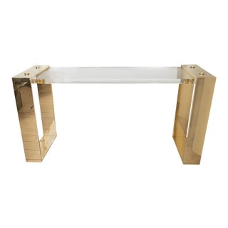 Lucite and Brass Console Table For Sale