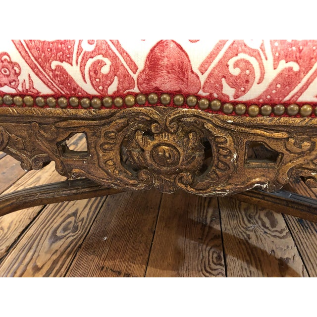 1950s Vintage Carved Giltwood Fauteuil Arm Chair For Sale - Image 12 of 13