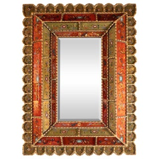 Mid-Century Modern Graphic Gilded Reverse Églomisé Hand-Painted Venetian Mirror For Sale