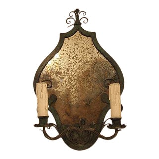 Verdigris French Wall Lights - a Pair For Sale