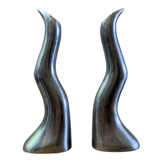 Vintage Aluminum Candle Holders - a Pair For Sale