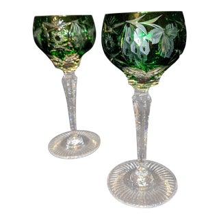 Emerald Green Bohemian Czech Cut Crystal Wine Glasses - Set of 2 For Sale