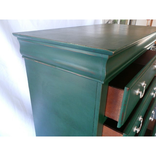 1980s Vintage Hand-Painted Highboy Chest Dresser For Sale - Image 5 of 11