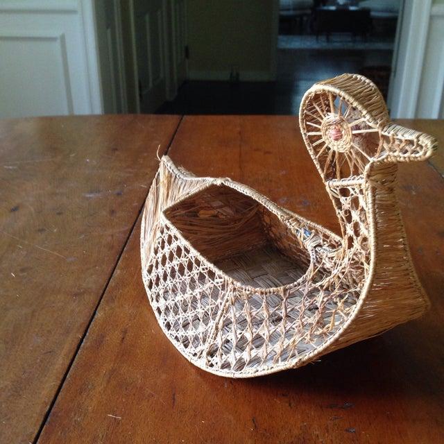 Vintage Italian Straw/Wicker Duck Basket - Image 8 of 11