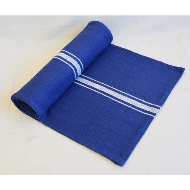 "Cotton Farmhouse Royal Blue & White Striped Table Runner 110"" Long For Sale - Image 7 of 8"