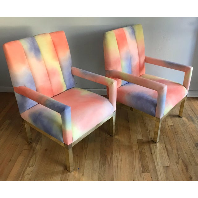 Brass Mid Century Colorful Velvet Upholstered Brass Base Arm Chairs -A Pair For Sale - Image 7 of 9