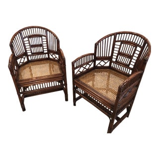 Vintage Brighton Style Chinese Chippendale Rattan Arm Dining Chairs -A Pair For Sale