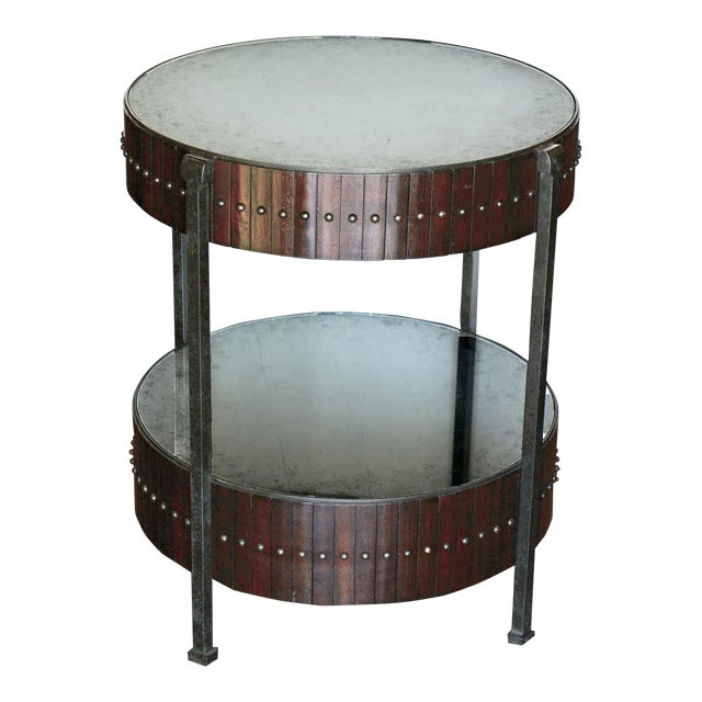 Thomas & Gray Two Tired Beaded Drum Accent Lamp Table For Sale