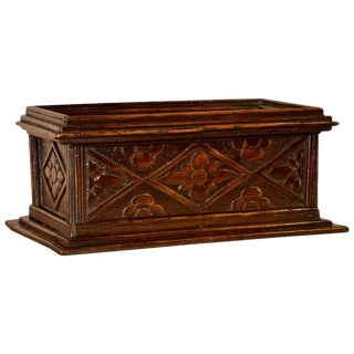 19th Century English Carved Box For Sale