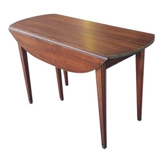 20th Century Mahogany Regency Style Brass Edge Drop Leaf Dining Room Table W/ 4 Leaves C1950 For Sale