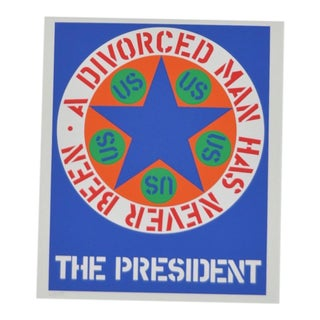 "C.1997 Robert Indiana ""A Divorced Man Has Never Been President"" Print For Sale"