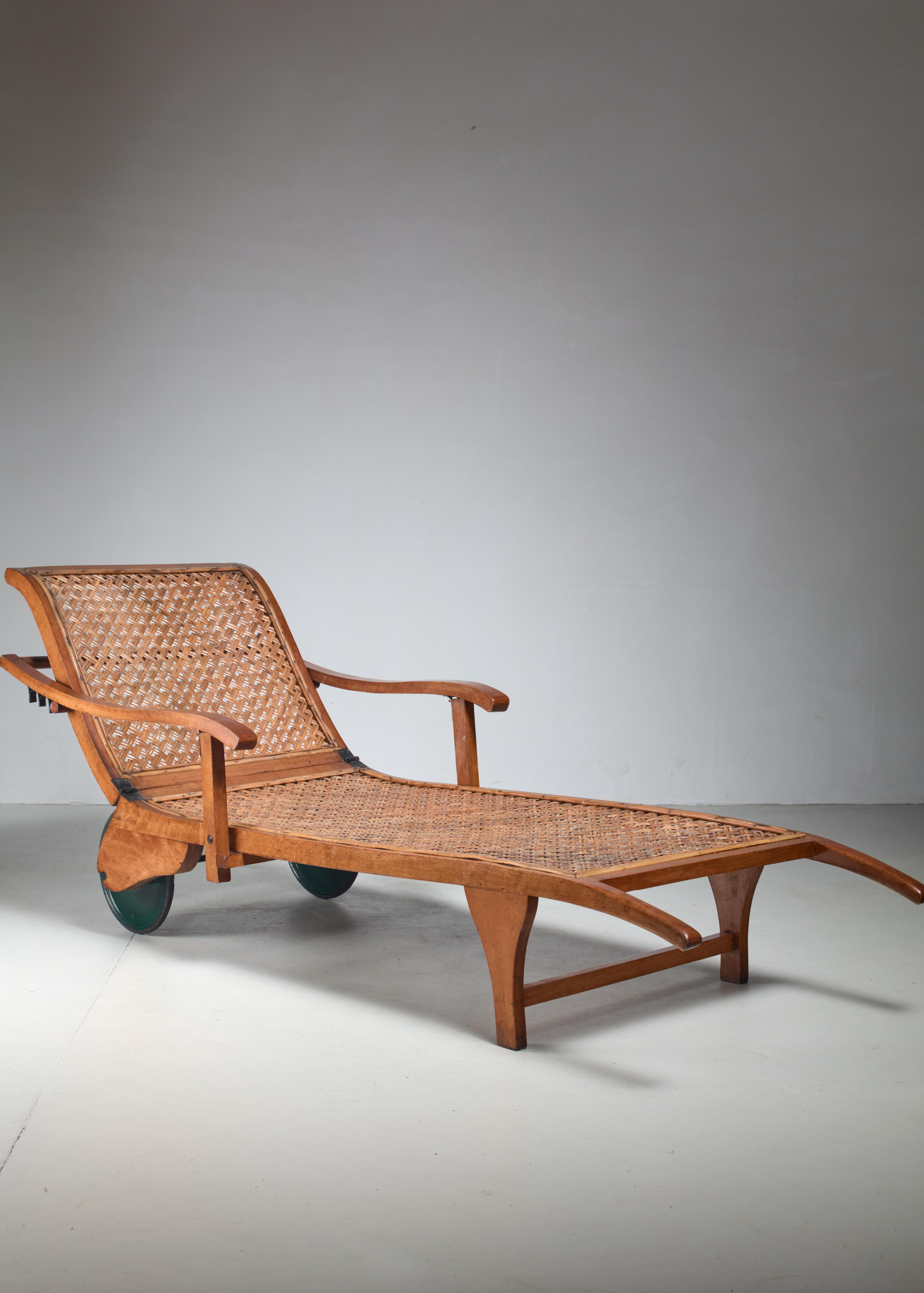 1920s Beech And Woven Cane Garden Chaise On Wheels, Germany, 1920s For Sale
