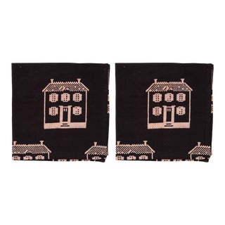 Countryside Cottage Napkins, Black - A Pair For Sale