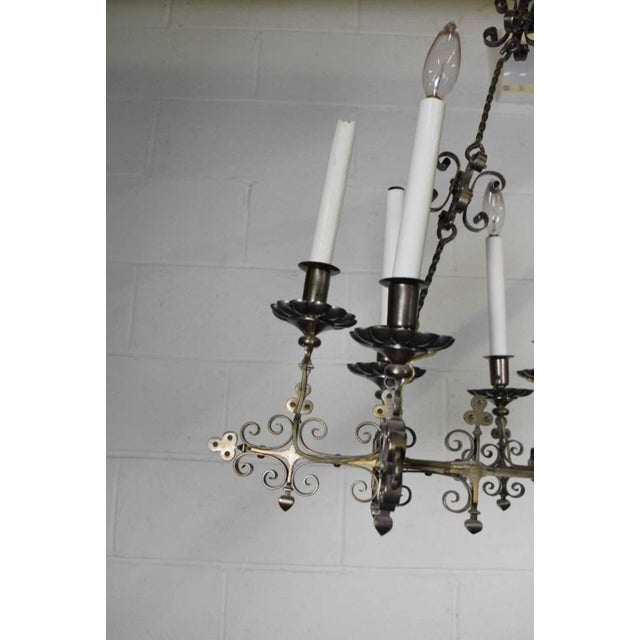 A Very Fine Continental Renaissance Style Steel Chandelier For Sale - Image 4 of 6