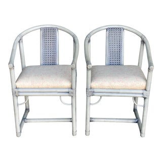 Contemporary Italian Cane Back Emperors Chairs - a Pair For Sale