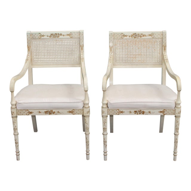 Vintage Mid Century Taffeta Faux Bamboo Caned Armchairs- A Pair For Sale
