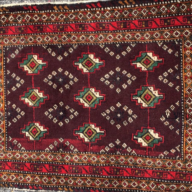 Red Patterned Persian Rug - 1′11″ × 2′9″ - Image 3 of 7