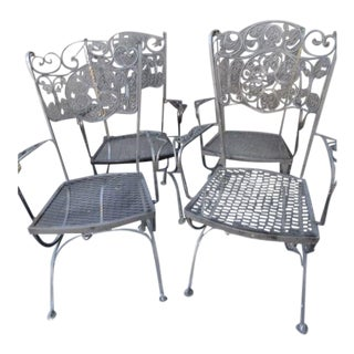 1950s Vintage Spanish Revival Salterini Wrought Iron Armchairs- Set of 4 For Sale
