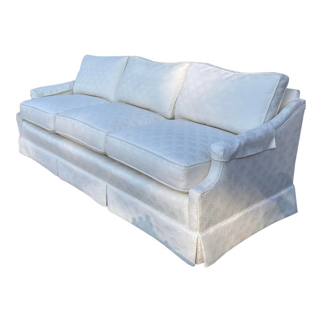 Mid-Century White Tuxedo Skirted Sofa For Sale
