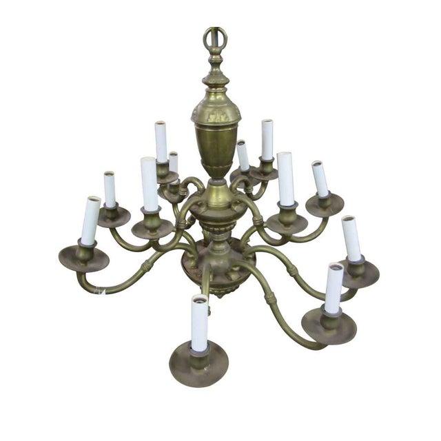 Olde Brass Chandelier For Sale - Image 6 of 8