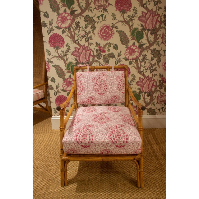 Pink Late 20th Century Bamboo Armchair For Sale - Image 8 of 8