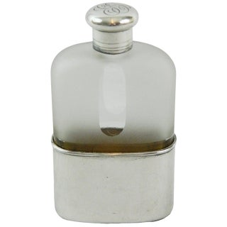 Early 20th Century Sterling Silver and Crystal Flask by Tiffany & Co For Sale