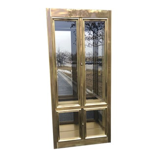 Hollywood Regency Style Brass & Glass Curio Cabinet For Sale
