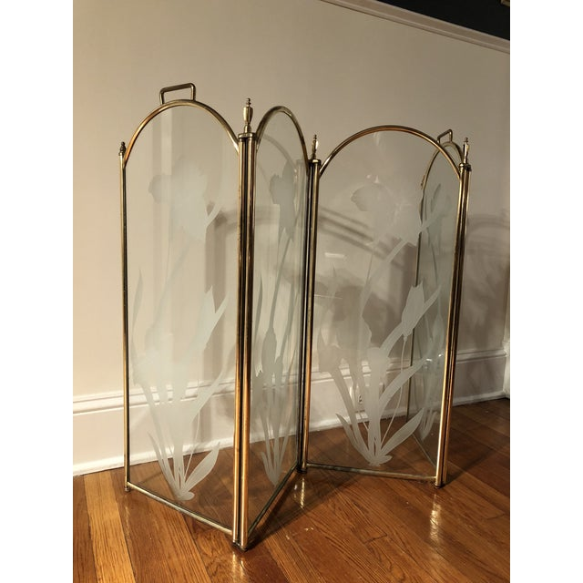 Gold Vintage Mid Century Hollywood Regency 4 Panel Brass Etched Glass Fireplace Screen For Sale - Image 8 of 11