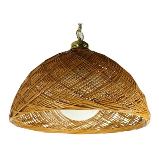 1970s Woven Wicker Bamboo Hanging Dome Chandelier For Sale