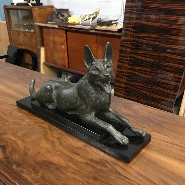 Bronze 1940s French Art Deco Bronze Dogs Sculpture For Sale - Image 7 of 10