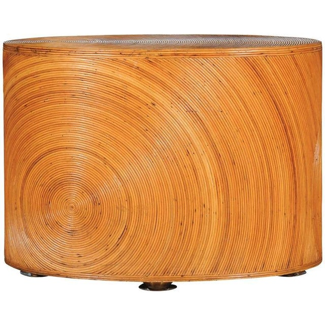 Dramatic Restored Vintage Oval Sunburst Bamboo and Brass Console For Sale - Image 11 of 11