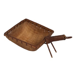 Vintage Straw Handled Basket For Sale
