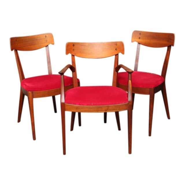 "Mid Century Modern 6 Drexel ""Declaration"" Line Walnut Dining Chairs. 1950s - Image 1 of 9"