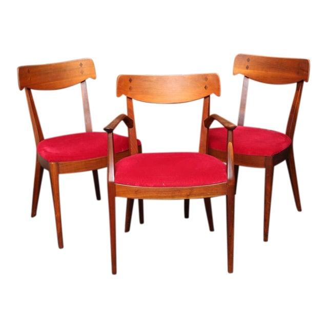 "Mid Century Modern 6 Drexel ""Declaration"" Line Walnut Dining Chairs. 1950s - Image 1 of 9"