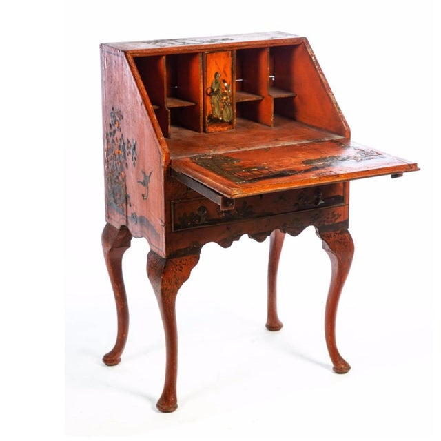 Charming Queen Anne style Chinoiserie writing desk. English, late 19th century with deep red lacquer painted decoration...