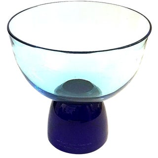 Blue Glass Crystal Punch Bowl