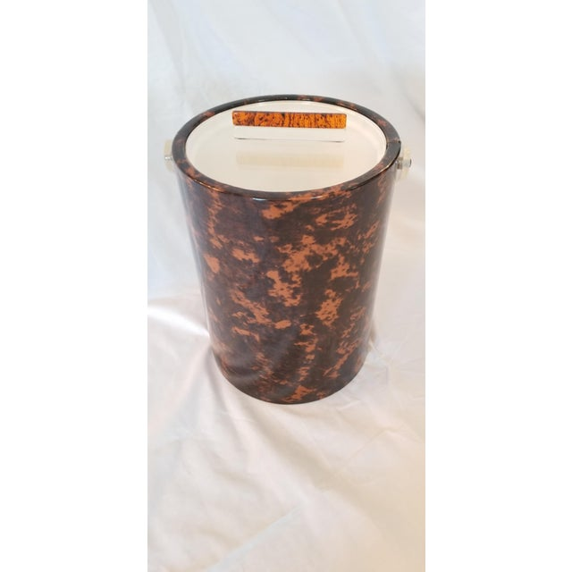 Art Deco Faux Tortoise Shell Ice Bucket For Sale - Image 3 of 6