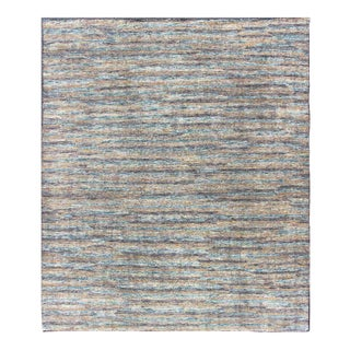 Modern Distressed Rug in Multi Shades of Gray, Purple, Blue and Yellow For Sale