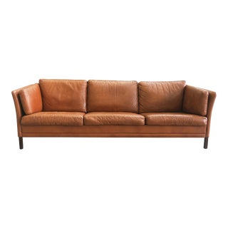 Danish Mid-Century Modern Leather Sofa by Mogens Hansen For Sale