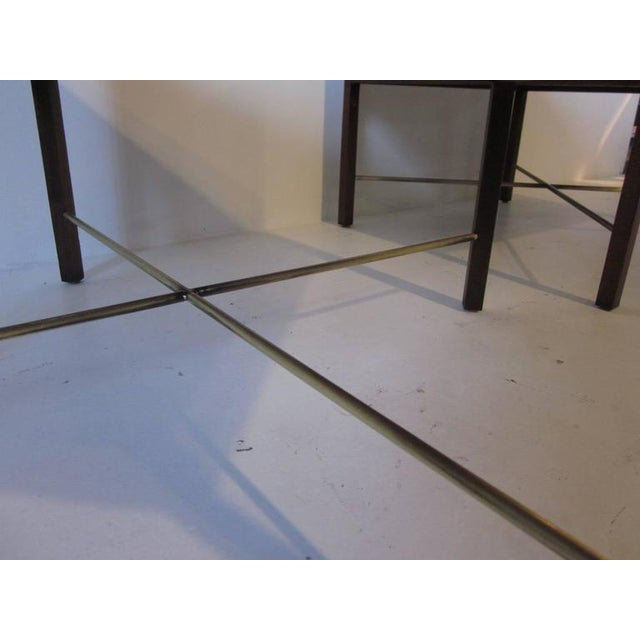 Mid-Century Modern Rosewood and Brass End Tables - a pair For Sale - Image 3 of 7