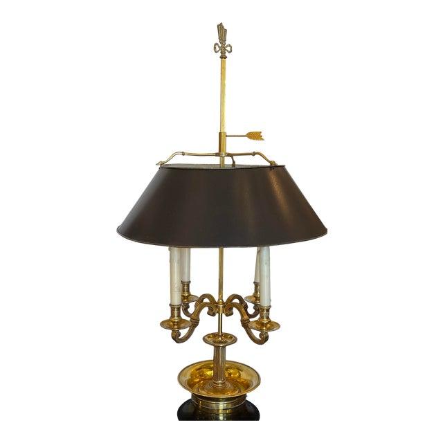 Large Paul Ferrante French Gilt Bronze Empire Four Light Bouillotte Table Lamp For Sale