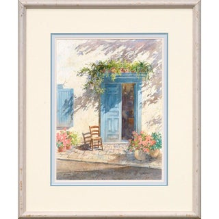 Sharon Galligan Blue Doorway With Chair and Flowers Circa 1990 For Sale