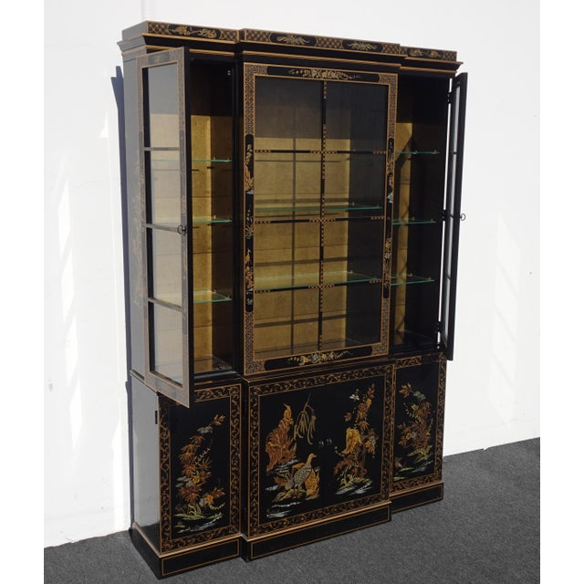 1970s Vintage Drexel Oriental Asian Chippendale Chinoiserie Black China Cabinet Hutch For Sale - Image 5 of 13